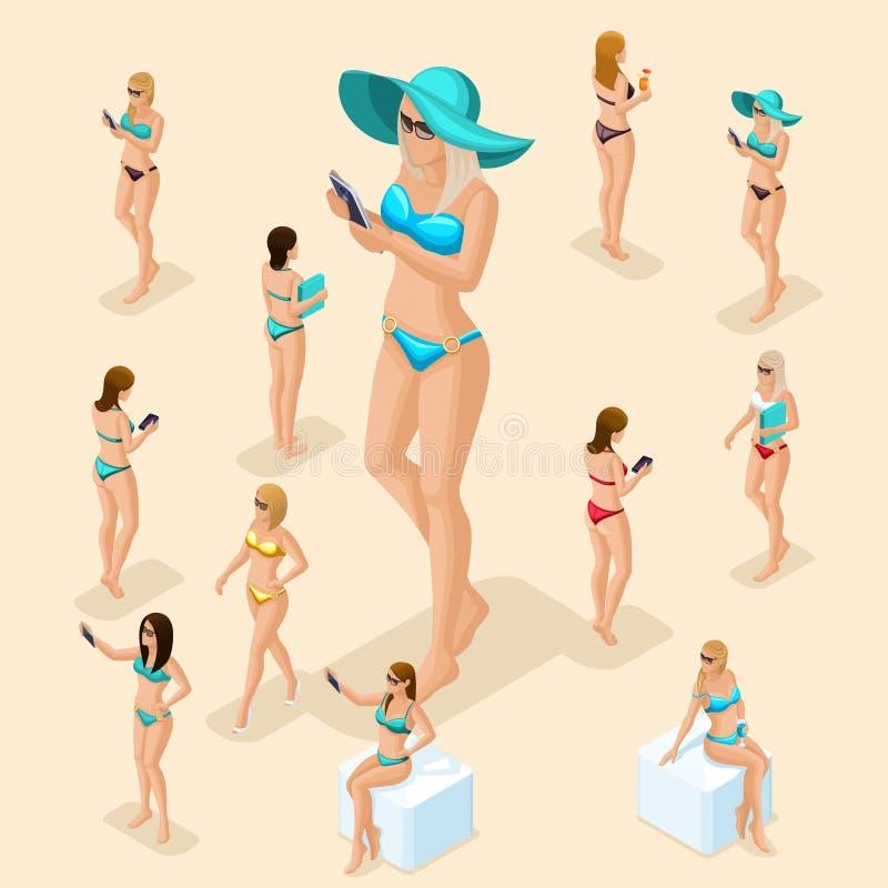 游泳衣的等量人3d女孩靠岸 库存例证