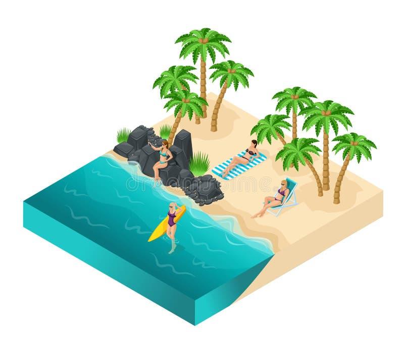 游泳衣的等量人3d女孩靠岸 向量例证
