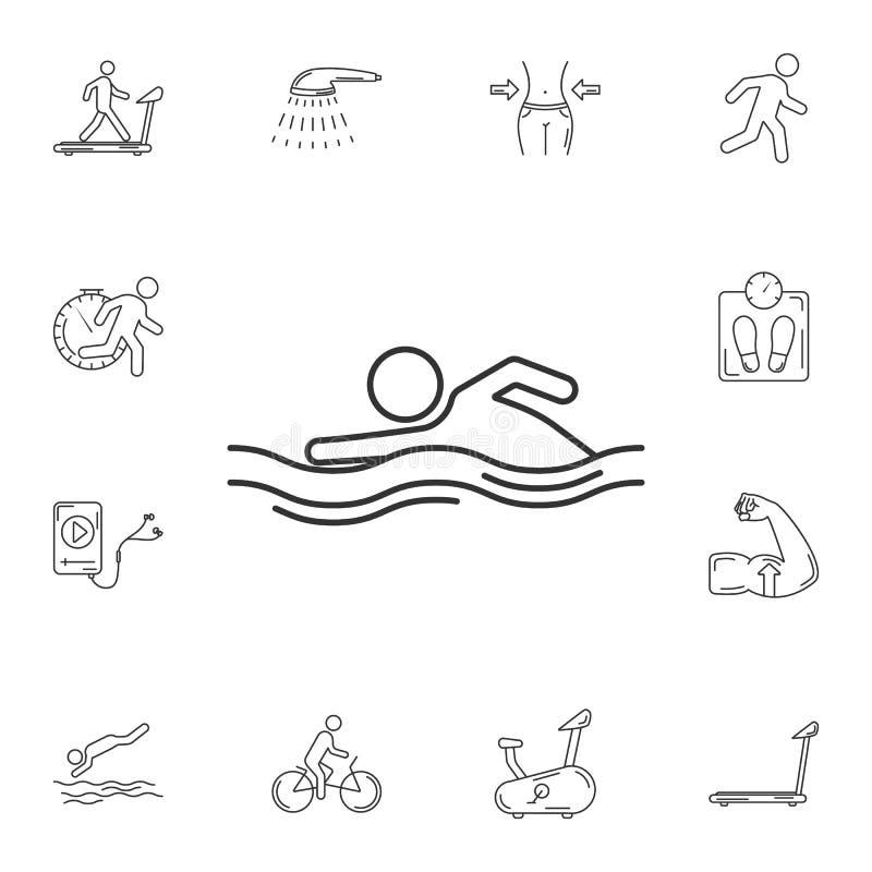 游泳象 简单的元素例证 游泳从健身房和健康汇集的标志设计集合 能为网和暴民使用 皇族释放例证