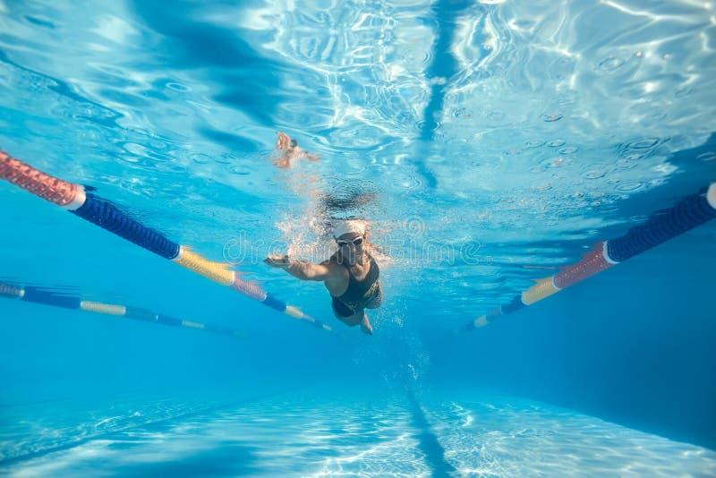 游泳水下的妇女 库存图片
