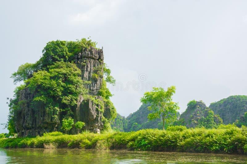 游船多数普遍的地方在越南 库存图片