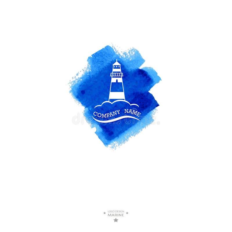 游艇俱乐部商标 水彩 向量例证