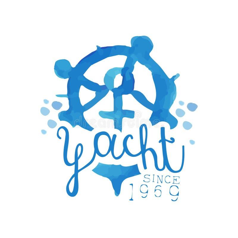 游艇俱乐部的原始的蓝色象征 与方向盘和船锚的手拉的例证 明亮的水彩绘画 向量例证
