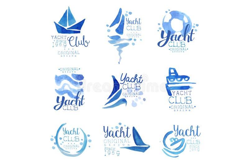 游艇俱乐部自1969年商标原始的设计集合,元素公司商标,企业身分蓝色水彩传染媒介以来 向量例证