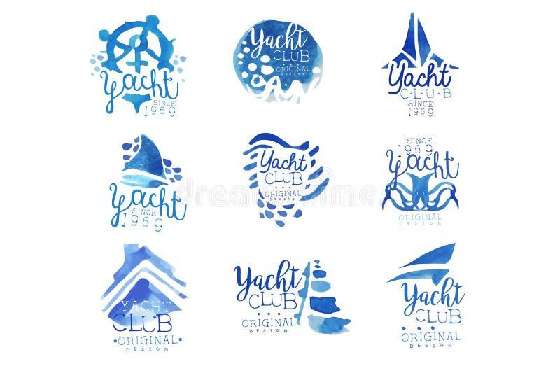 游艇俱乐部,航行体育或海洋旅行传染媒介例证贴纸的,横幅,卡片,广告,标记 向量例证