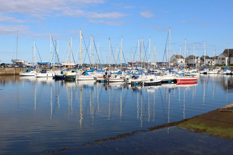 游艇停泊了在大浪, Tayport港口,鼓笛 库存图片