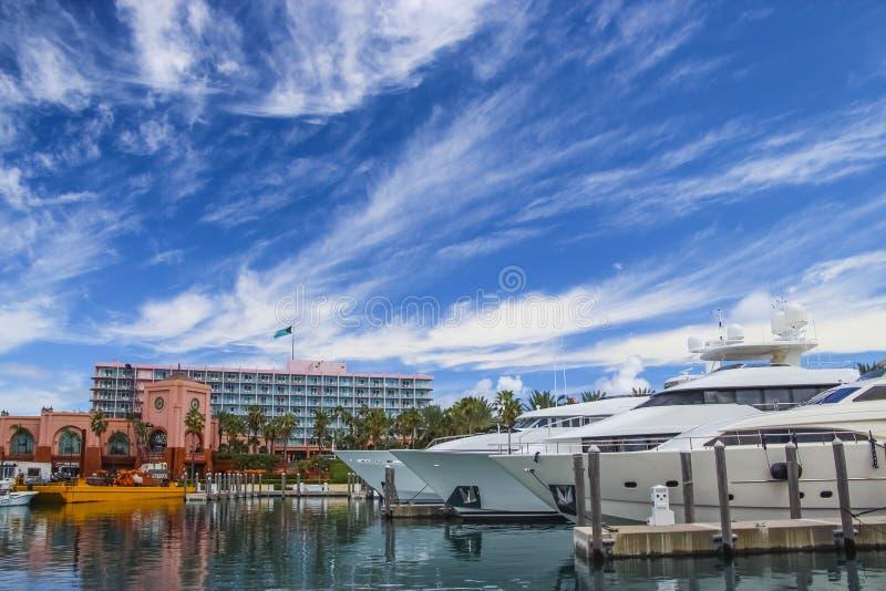 游艇在小游艇船坞在拿骚,巴哈马 免版税图库摄影