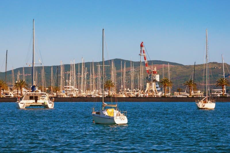 游艇小游艇船坞在亚得里亚 黑山,科托尔湾,蒂瓦特市 波尔图黑山看法在好日子 库存照片
