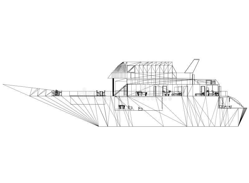 游艇概念-被隔绝的建筑师图纸 库存例证