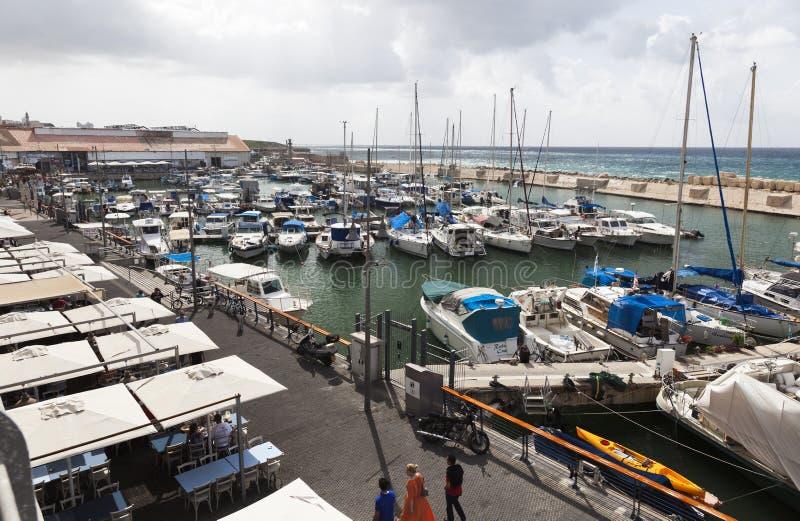 游艇汽艇和捕鱼船在老Jaffo口岸 特拉唯夫 以色列 库存图片