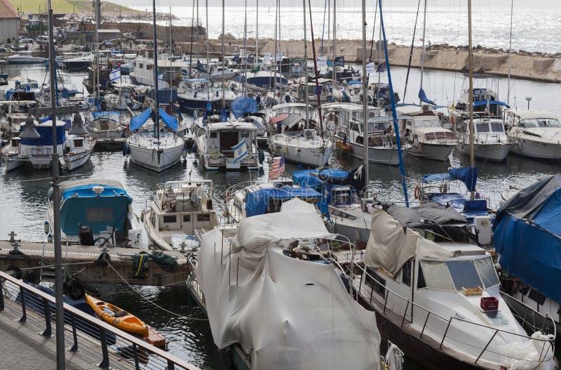 游艇汽艇和捕鱼船在老Jaffo口岸 特拉唯夫 以色列 免版税库存图片