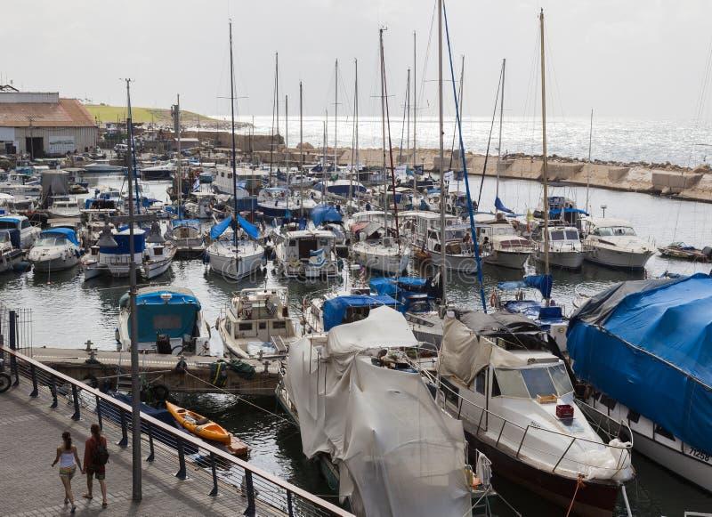 游艇汽艇和捕鱼船在老Jaffo口岸 Tel Avi 库存图片