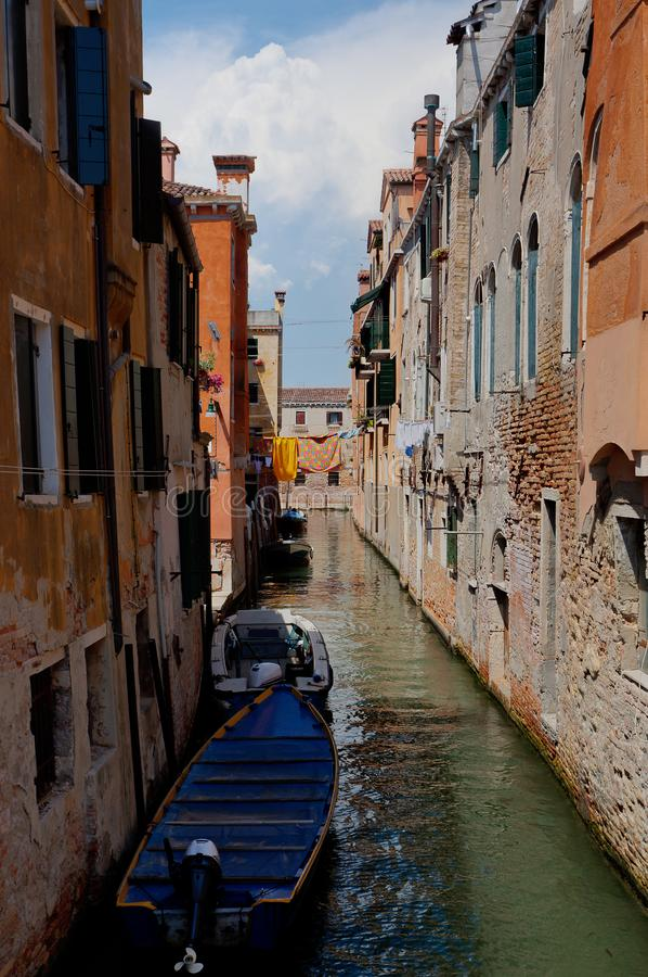 游艇运河威尼斯,威尼斯湾,意大利,意大利 库存图片