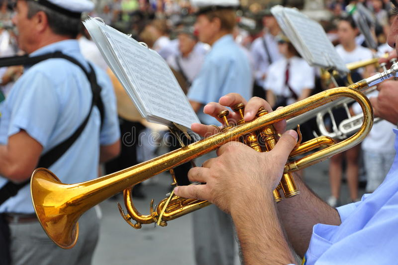 游行乐队在意大利 免版税库存照片