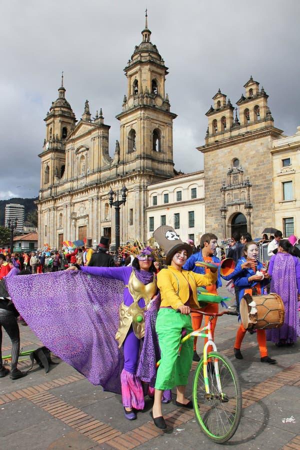 游行在波哥大,哥伦比亚 库存照片
