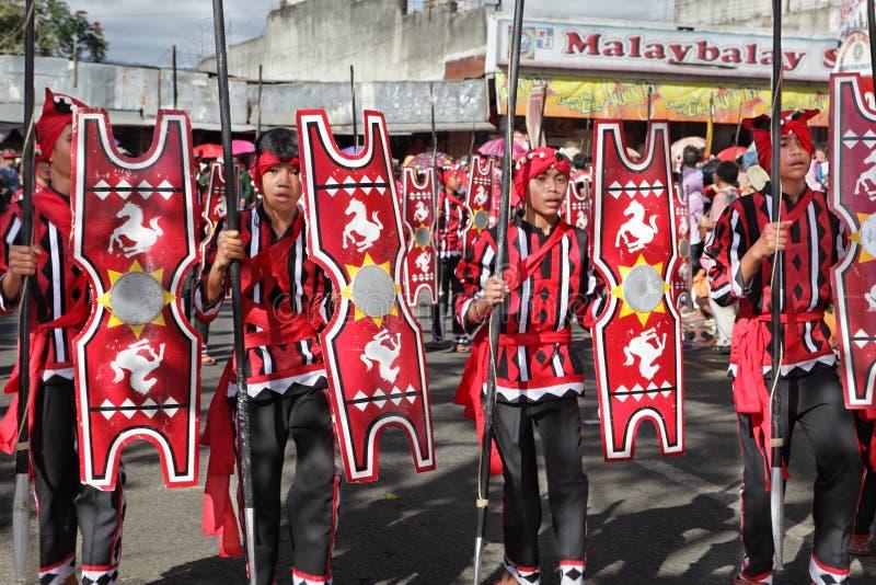 游行菲律宾部族战士 库存照片