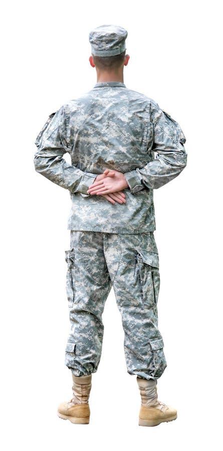 游行静止位置的美国陆军战士。 免版税库存图片