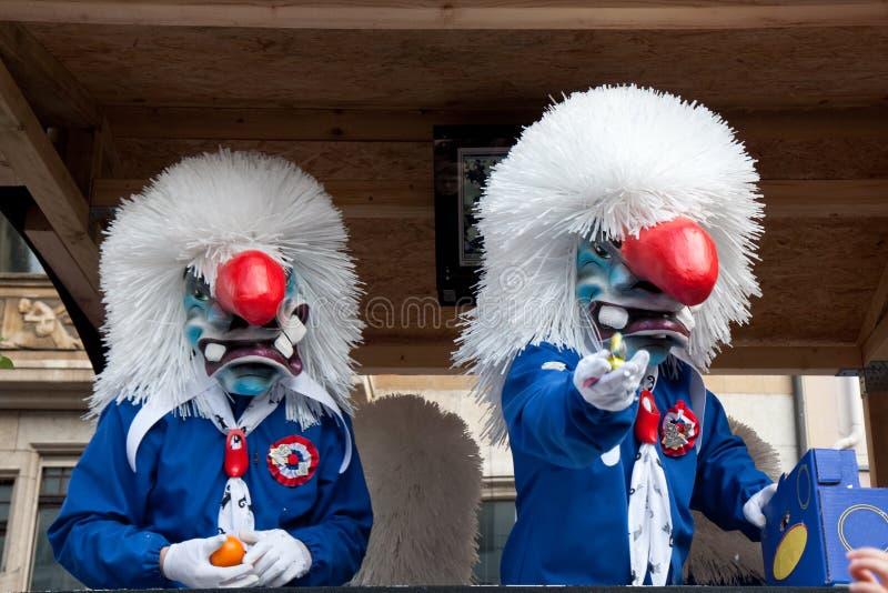 游行,狂欢节在巴塞尔,瑞士 免版税库存照片