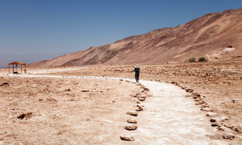 游览geoglyphs Pintados Cerros的游人,在镇附近  免版税图库摄影