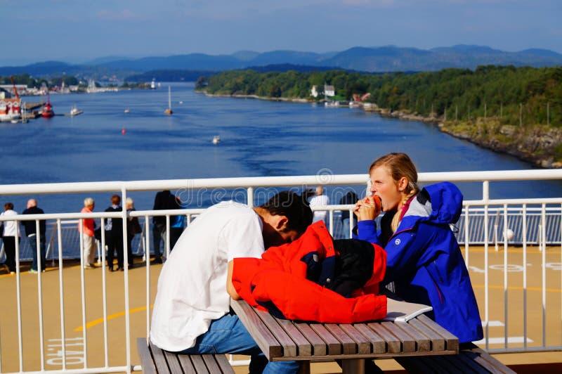 游轮旅行, Langesund,挪威 免版税库存照片