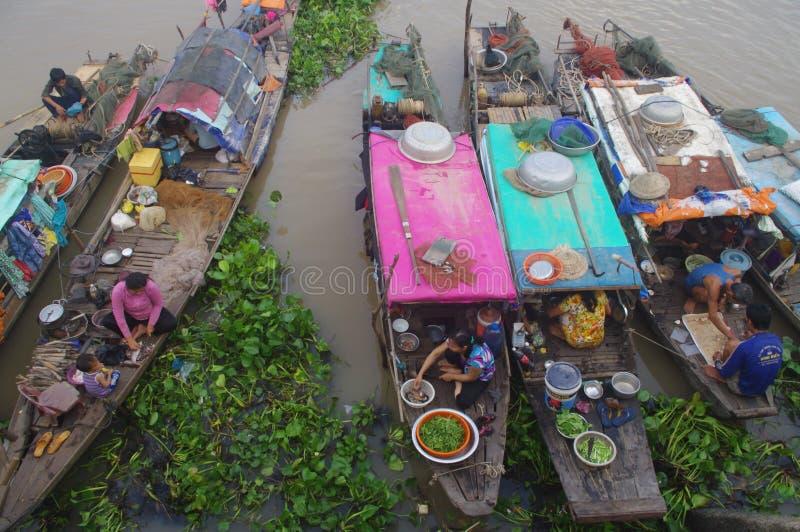 湄公河三角洲在Chau Doc 库存照片