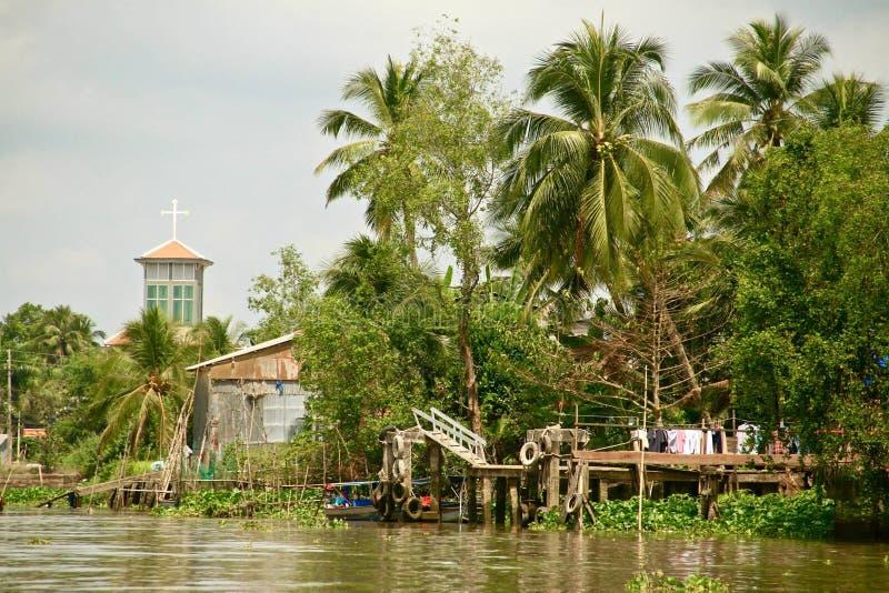 湄公河三角洲的教会,越南 免版税库存图片