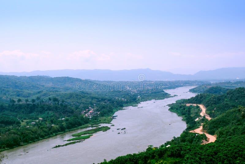 湄公河划分在泰国和老挝之间的边界池氏的 免版税库存图片