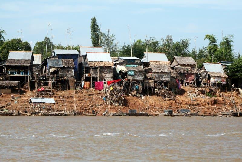 湄公河村庄 库存照片