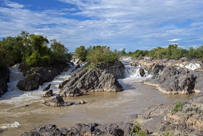 湄公河瀑布,老挝 图库摄影