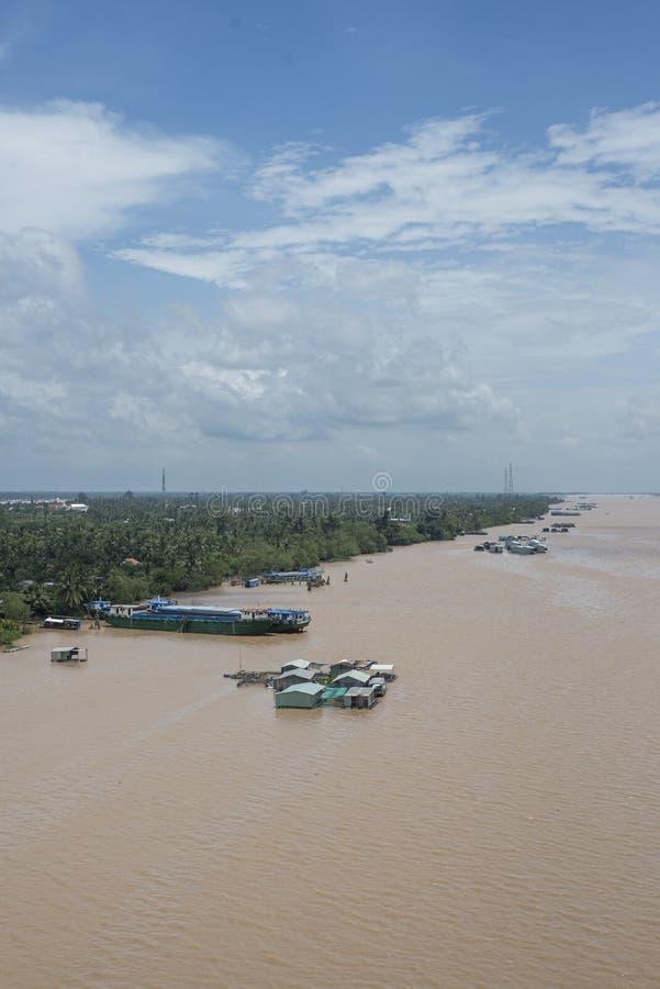 湄公河的浮动渔场三角洲的 库存图片