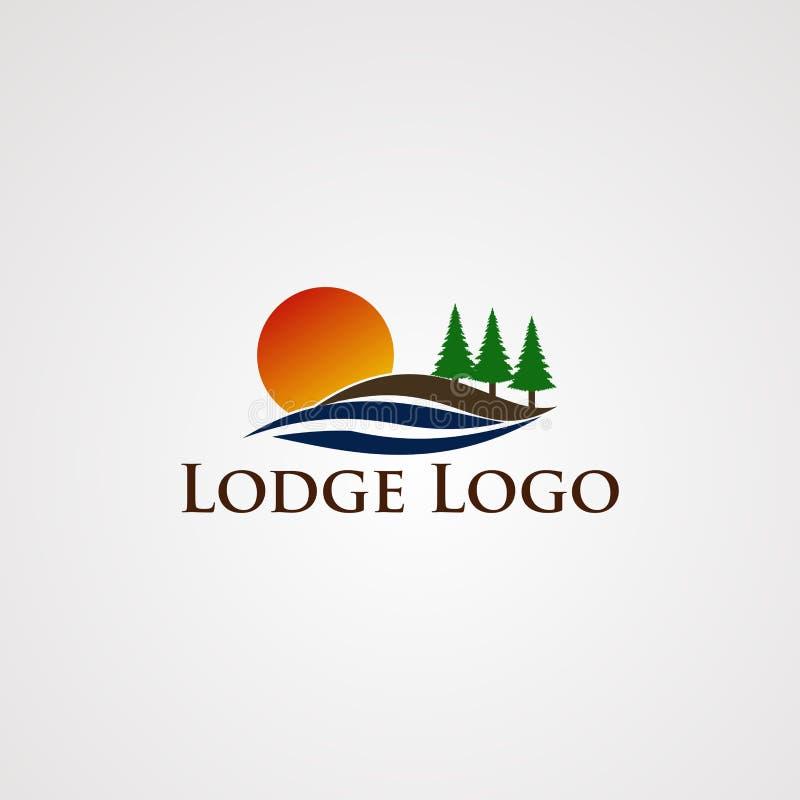 湖与光滑的波浪和树杉木、元素、模板和象的商标传染媒介,公司的 皇族释放例证