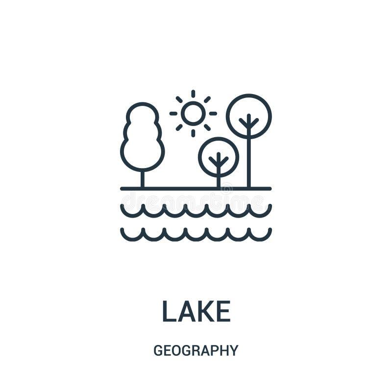 湖从地理汇集的象传染媒介 稀薄的线湖概述象传染媒介例证 向量例证