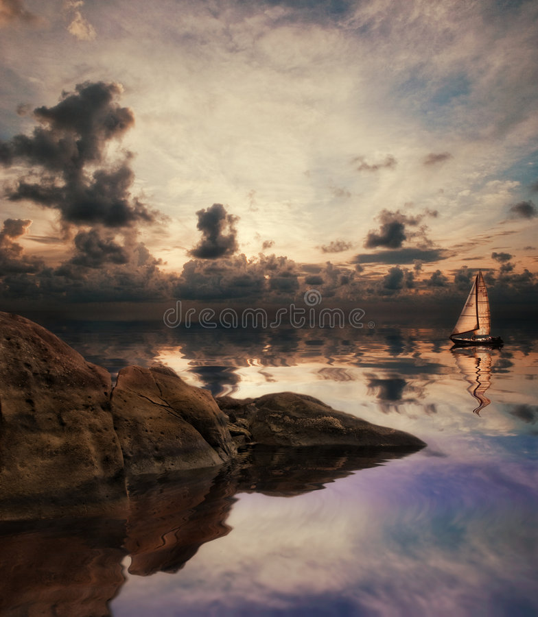 湖偏僻的帆船 库存例证