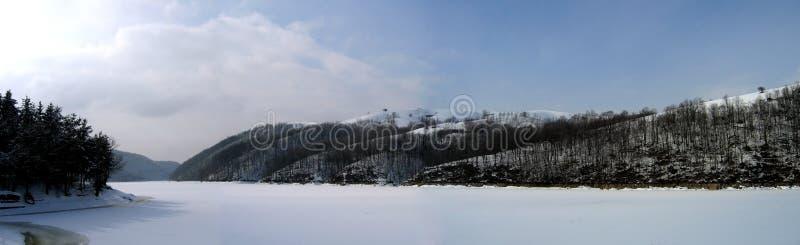 湖全景冬天 免版税库存照片