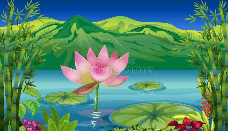 湖和一个美好的风景 向量例证