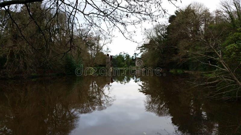 湖和树在Johnstown城堡 免版税库存照片