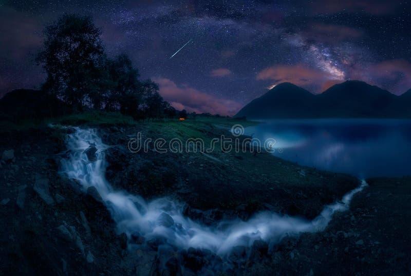 湖和银河 免版税图库摄影