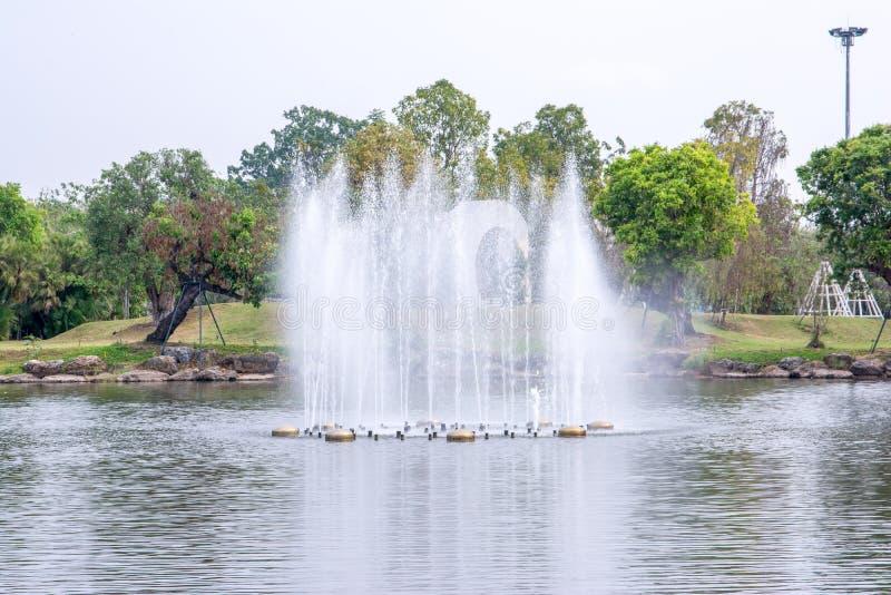 湖喷泉在皇家植物群庭院Chiangmai,泰国里 免版税库存图片