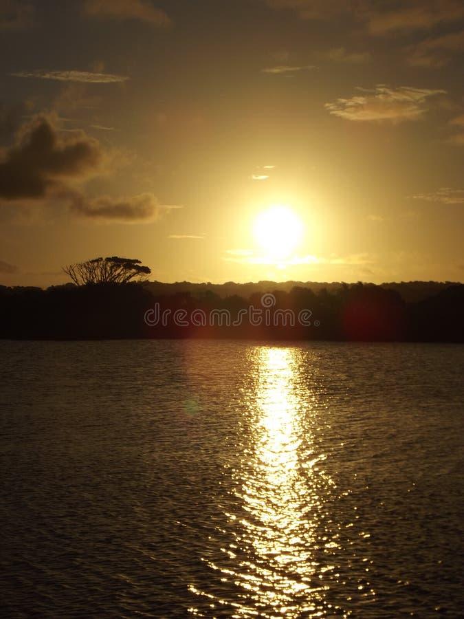 湖圣卢西亚日落 库存照片