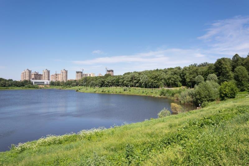湖在夏天城市公园 免版税库存照片