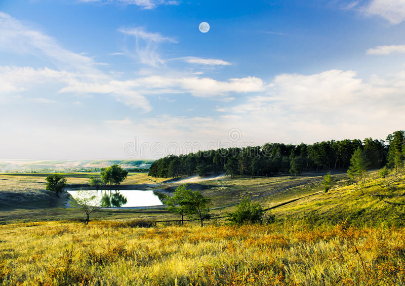 湖在山的森林里 免版税库存图片