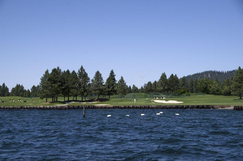 湖在斯波肯华盛顿附近的Coeur dAlene爱达荷 图库摄影