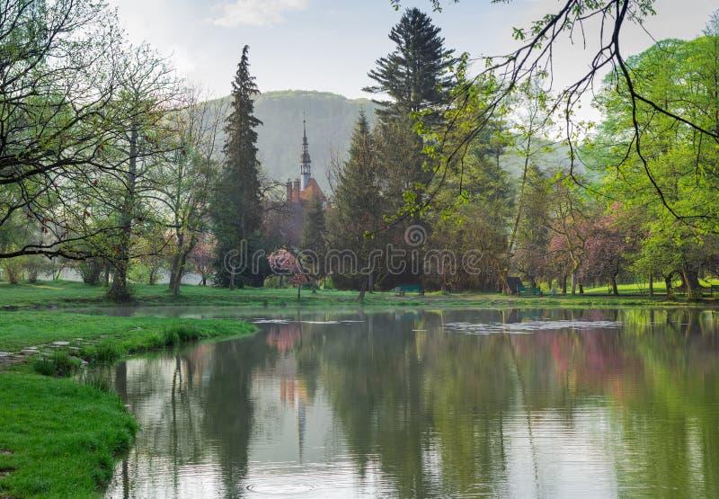 湖在有一座城堡的公园在背景中 免版税库存照片