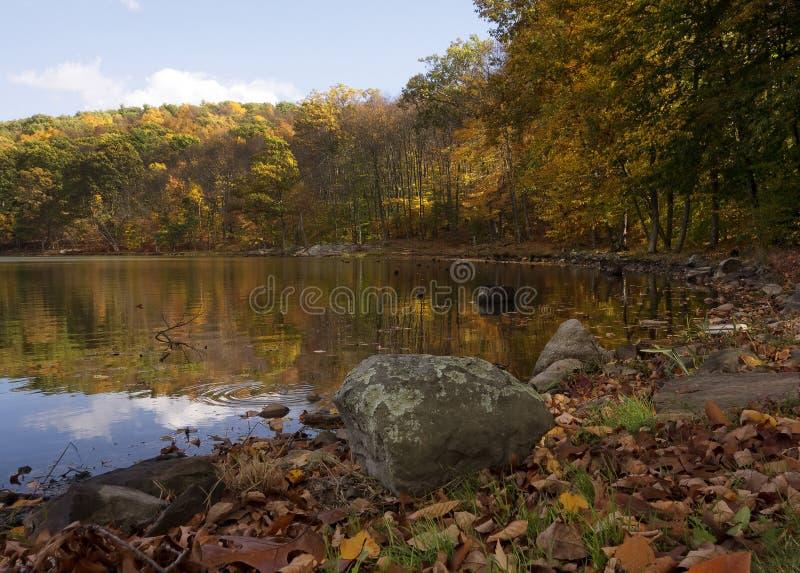 湖在秋天 库存图片