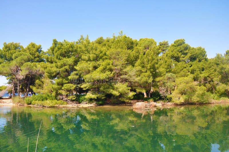 湖在Koukounaries海滩,希腊附近的斯基亚索斯岛海岛 库存照片