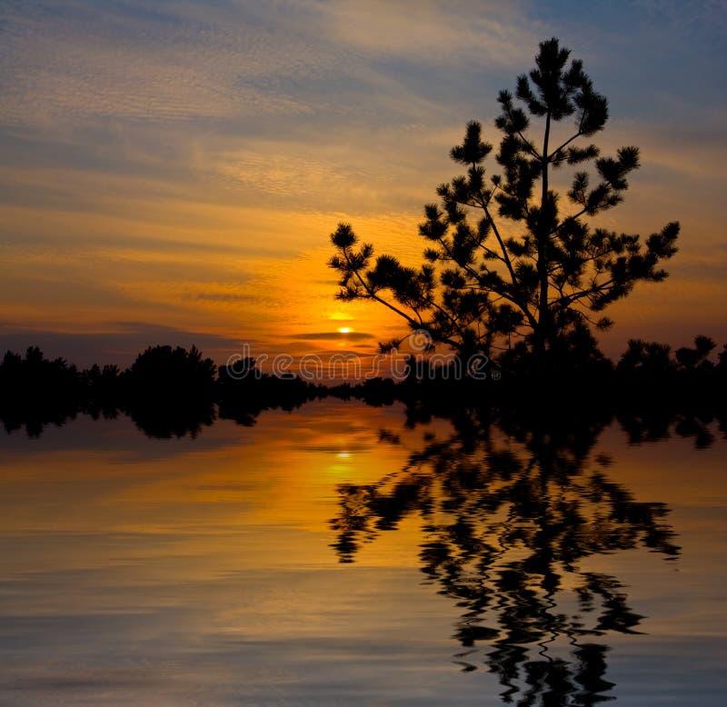 湖好的日落 免版税库存照片