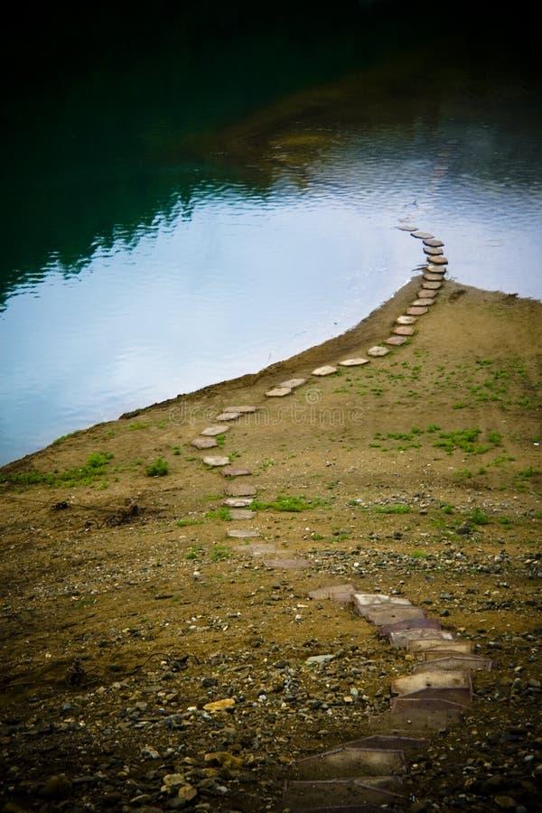 湖对木头的路径树桩 免版税库存照片