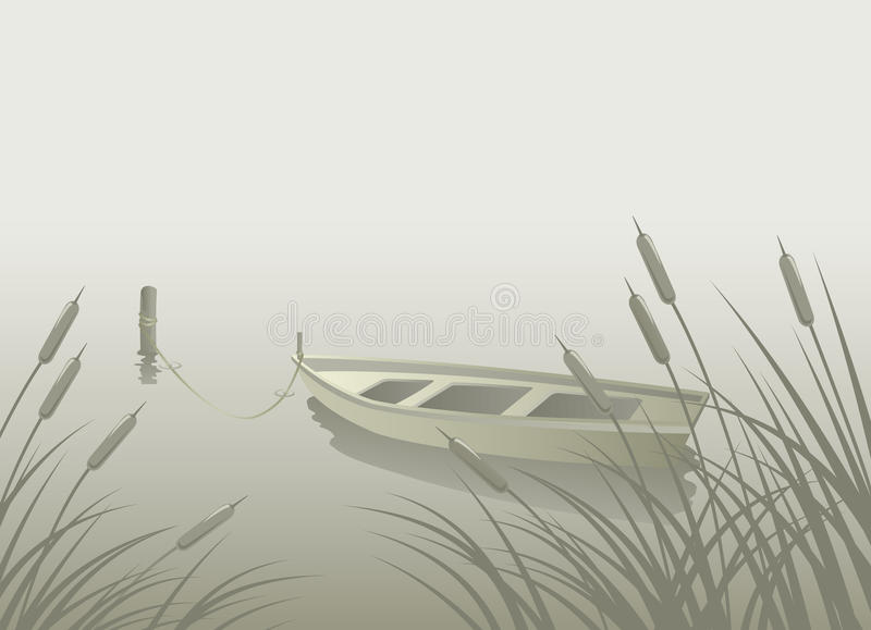 湖小船芦苇 库存例证