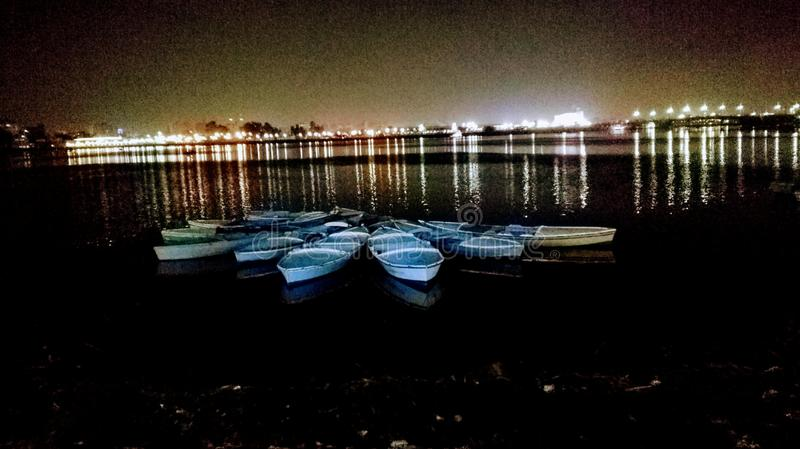湖小船 库存照片