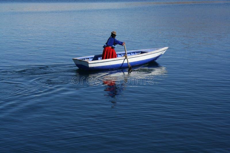 湖局部titicaca妇女 库存照片